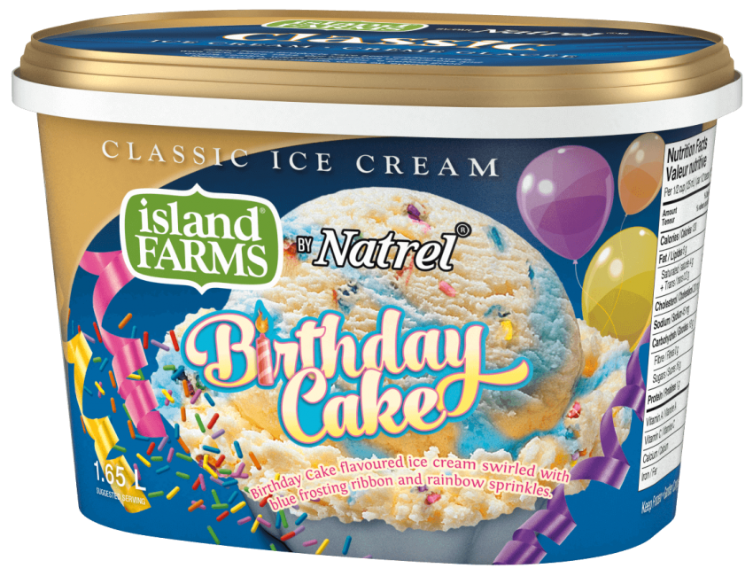 Birthday Cake Flavoured Ice Cream Swirled With Blue Frosting Ribbon And Rainbow Sprinkles Island Farms Is Made Real Canadian Dairy Products